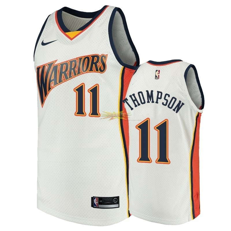 Nouveau Maillot NBA Golden State Warriors NO.11 Klay Thompson Blanc Throwback