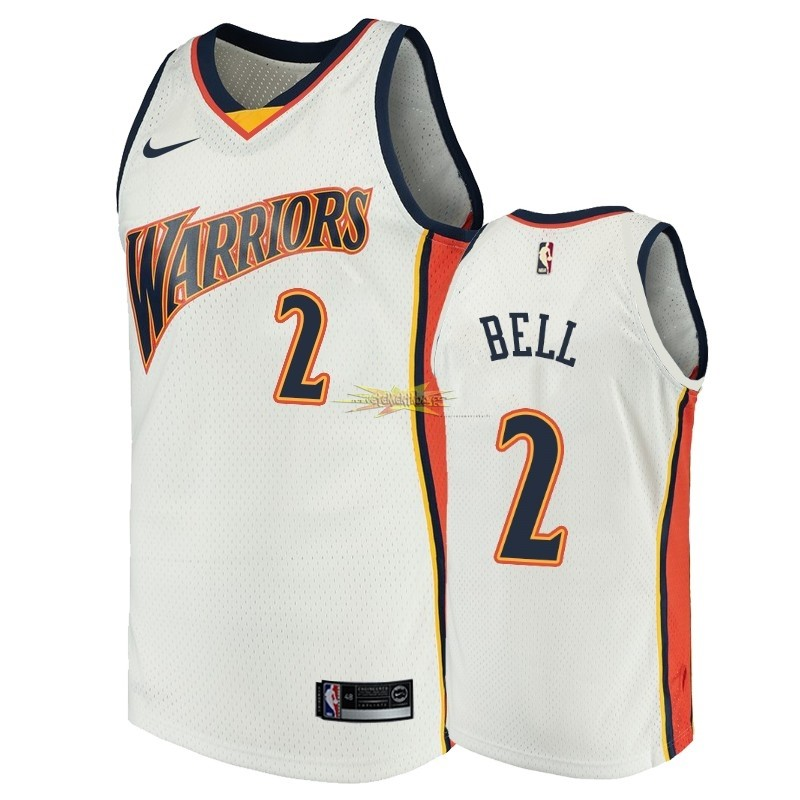 Nouveau Maillot NBA Golden State Warriors NO.2 Jordan Bell Blanc Throwback