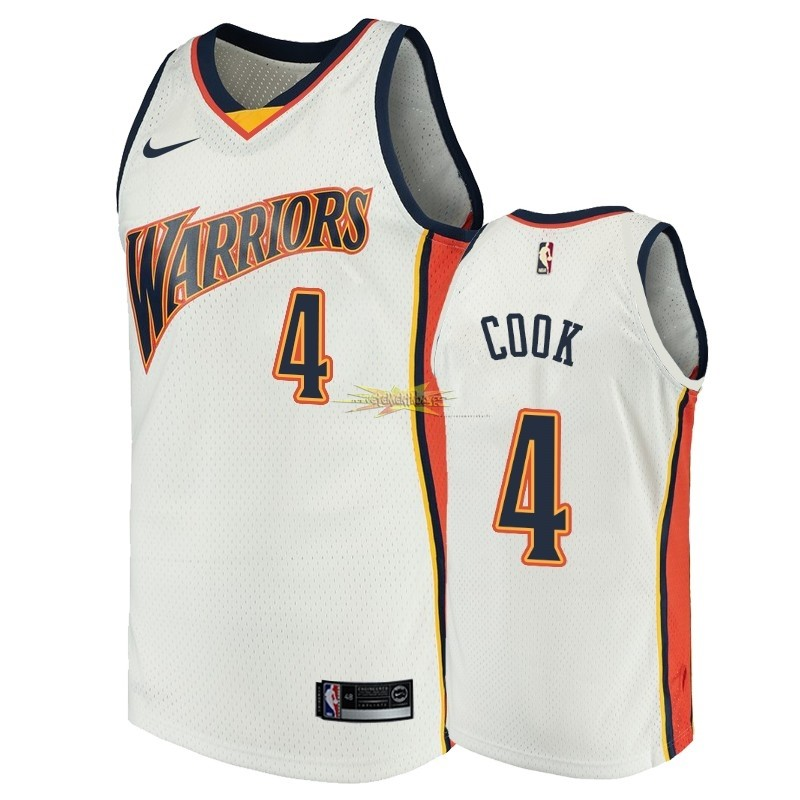 Nouveau Maillot NBA Golden State Warriors NO.4 Quinn Cook Blanc Throwback