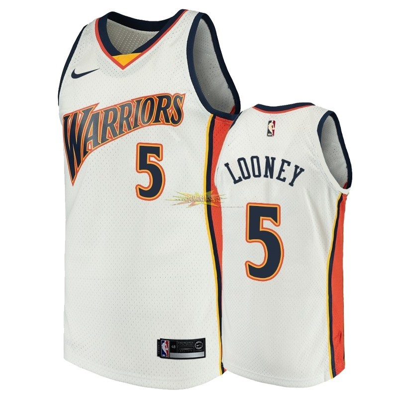 Nouveau Maillot NBA Golden State Warriors NO.5 Kevon Looney Blanc Throwback