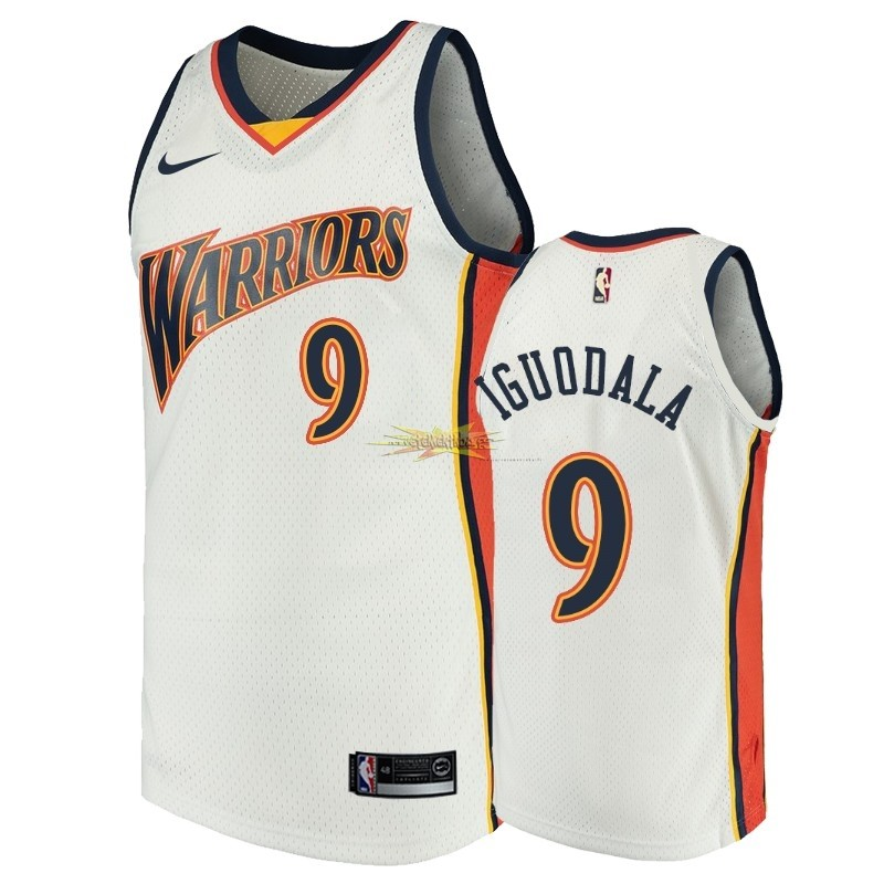 Nouveau Maillot NBA Golden State Warriors NO.9 Andre Iguodala Blanc Throwback