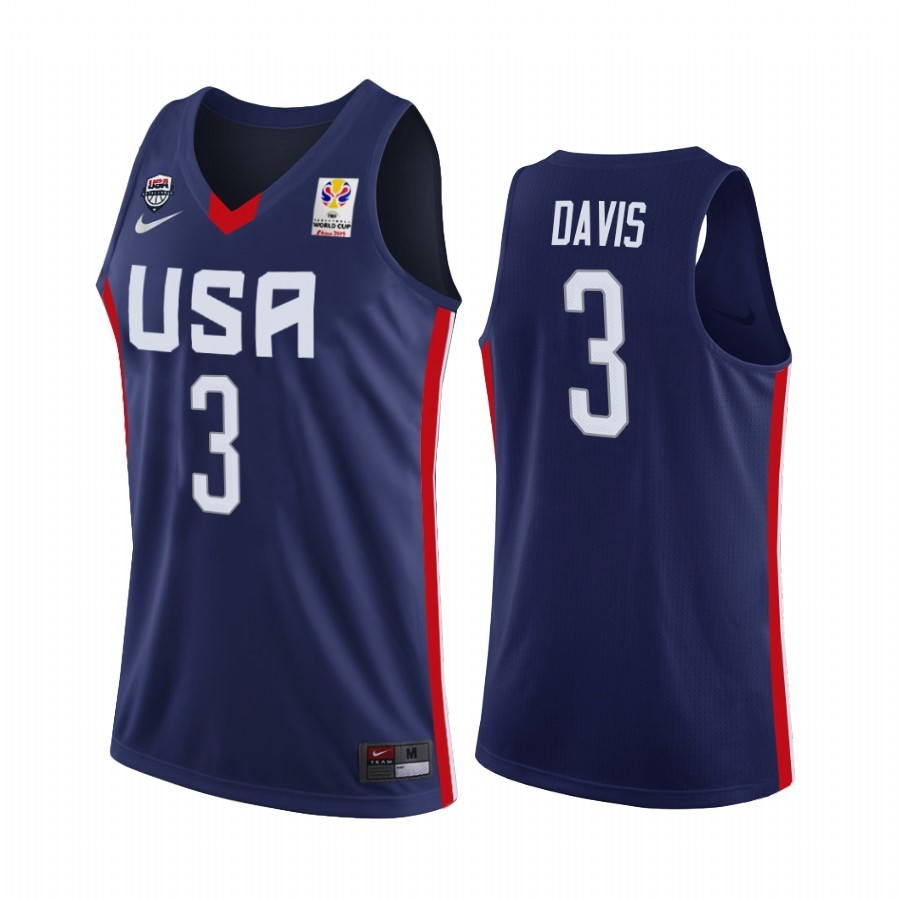 Maillot Coupe Du Monde Basket FIBA 2019 USA NO.3 Anthony Davis Marino