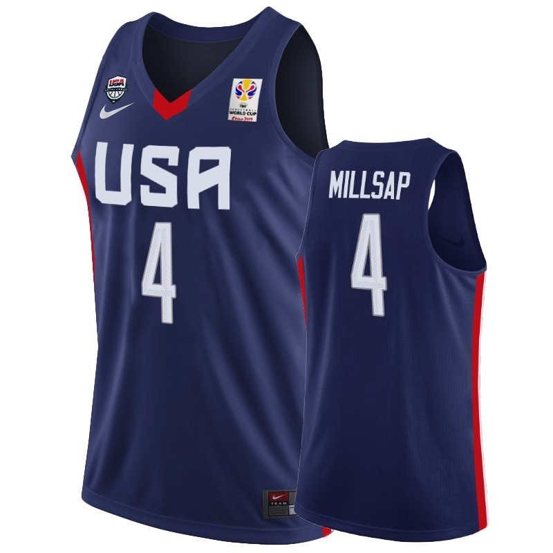 Maillot Coupe Du Monde Basket FIBA 2019 USA NO.4 Paul Millsap Marino