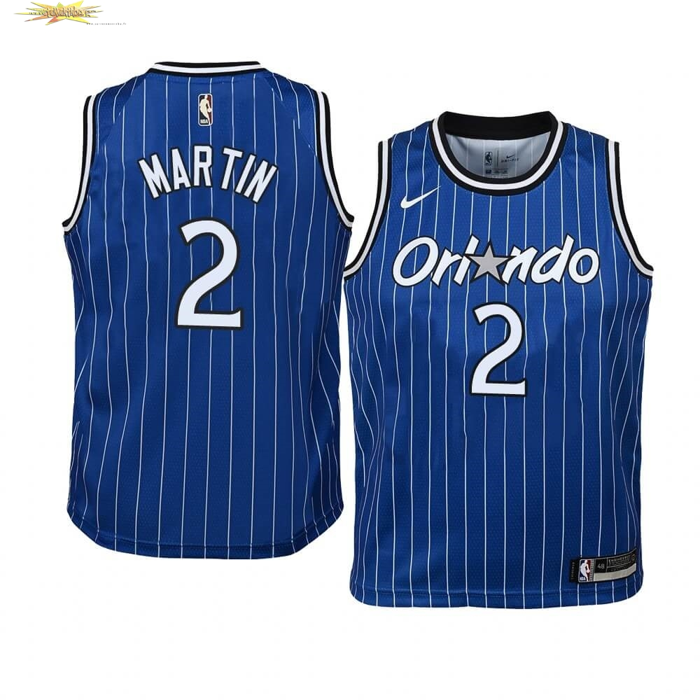 Nouveau Maillot NBA Enfant Orlando Magic NO.2 Jarell Martin Bleu Hardwood Classics
