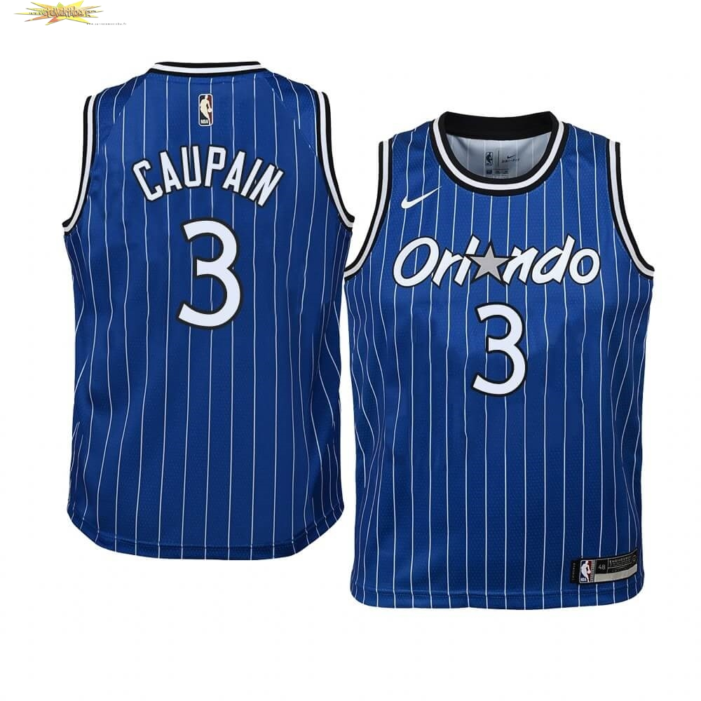 Nouveau Maillot NBA Enfant Orlando Magic NO.3 Troy Caupain Bleu Hardwood Classics