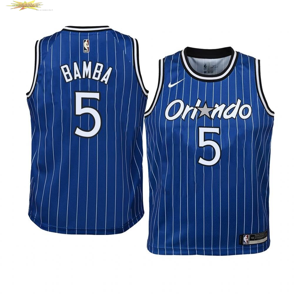 Nouveau Maillot NBA Enfant Orlando Magic NO.5 Mohamed Bamba Bleu Hardwood Classics