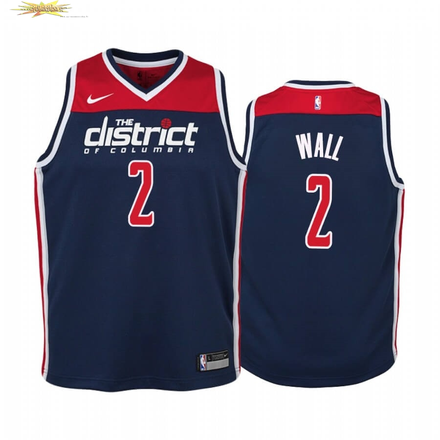 Nouveau Maillot NBA Enfant Washington Wizards NO.2 John Wall Marine Statement 2019-20