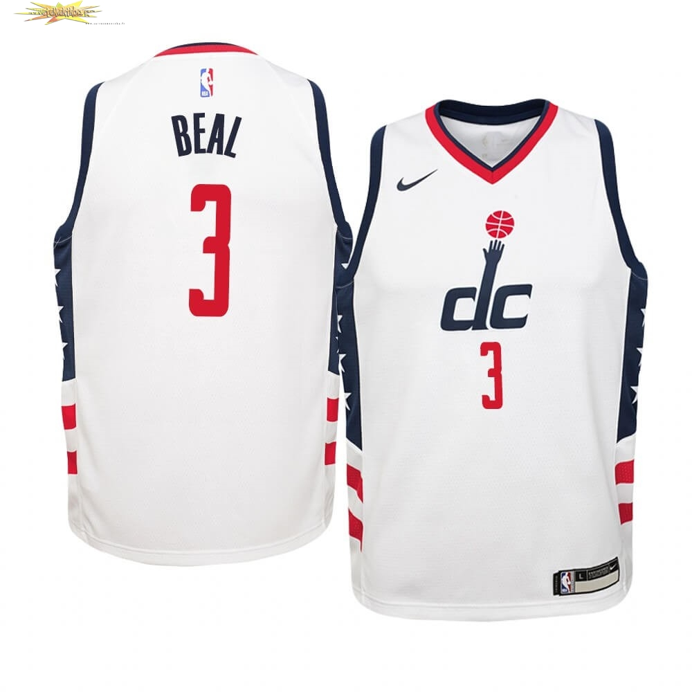 Nouveau Maillot NBA Enfant Washington Wizards NO.3 Bradley Beal Nike Blanc Ville 2019-20