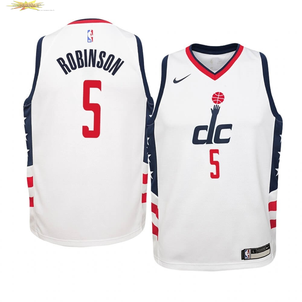 Nouveau Maillot NBA Enfant Washington Wizards NO.5 Justin Robinson Nike Blanc Ville 2019-20