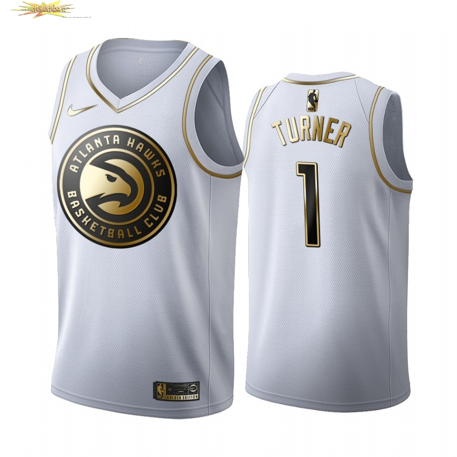 Nouveau Maillot NBA Nike Atlanta Hawks NO.1 Evan Turner Blanc Or 2019-20