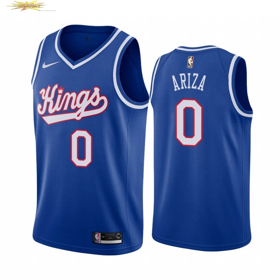 Nouveau Maillot NBA Sacramento Kings NO.0 Trevor Ariza Bleu Throwback