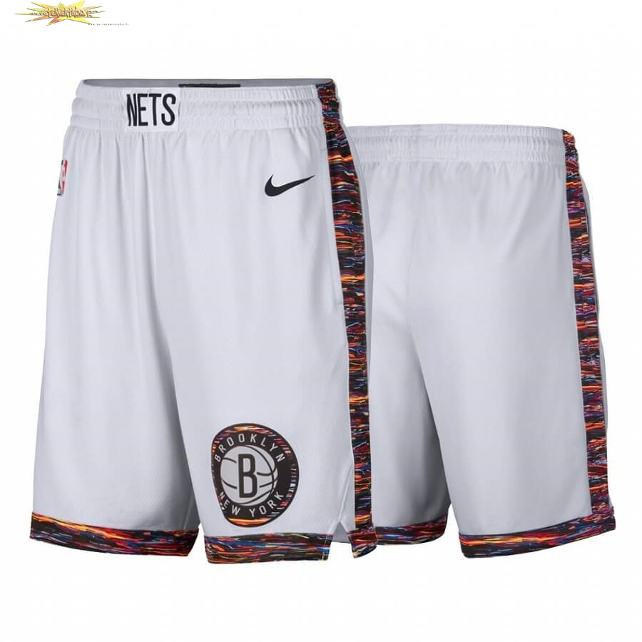 Nouveau Short Basket Brooklyn Nets Nike Blanc Ville 2019-20