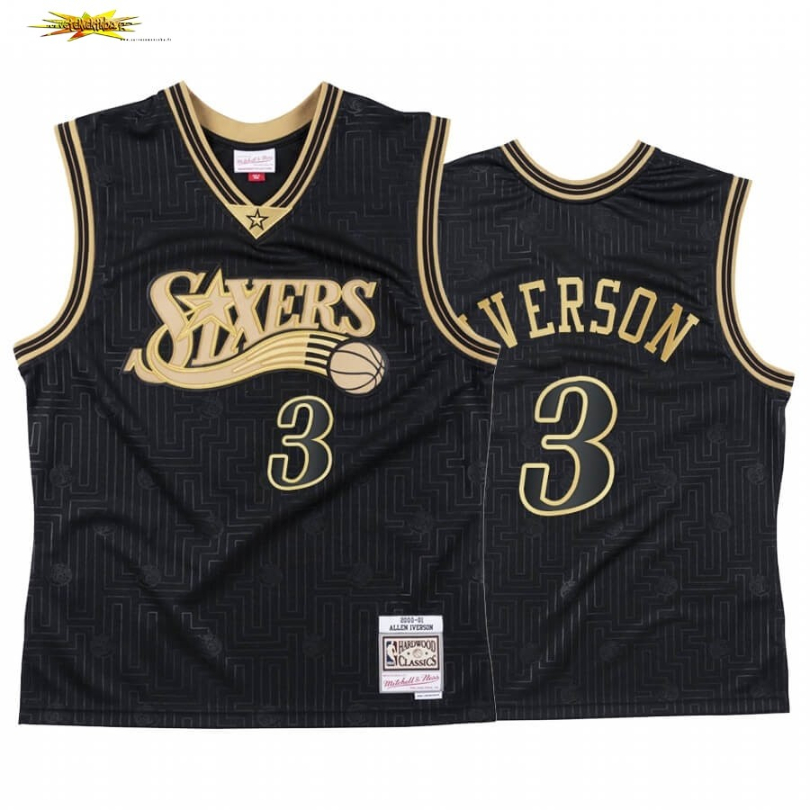 Maillot NBA CNY Throwback Philadelphia 76ers NO.3 Allen Iverson Noir 2020