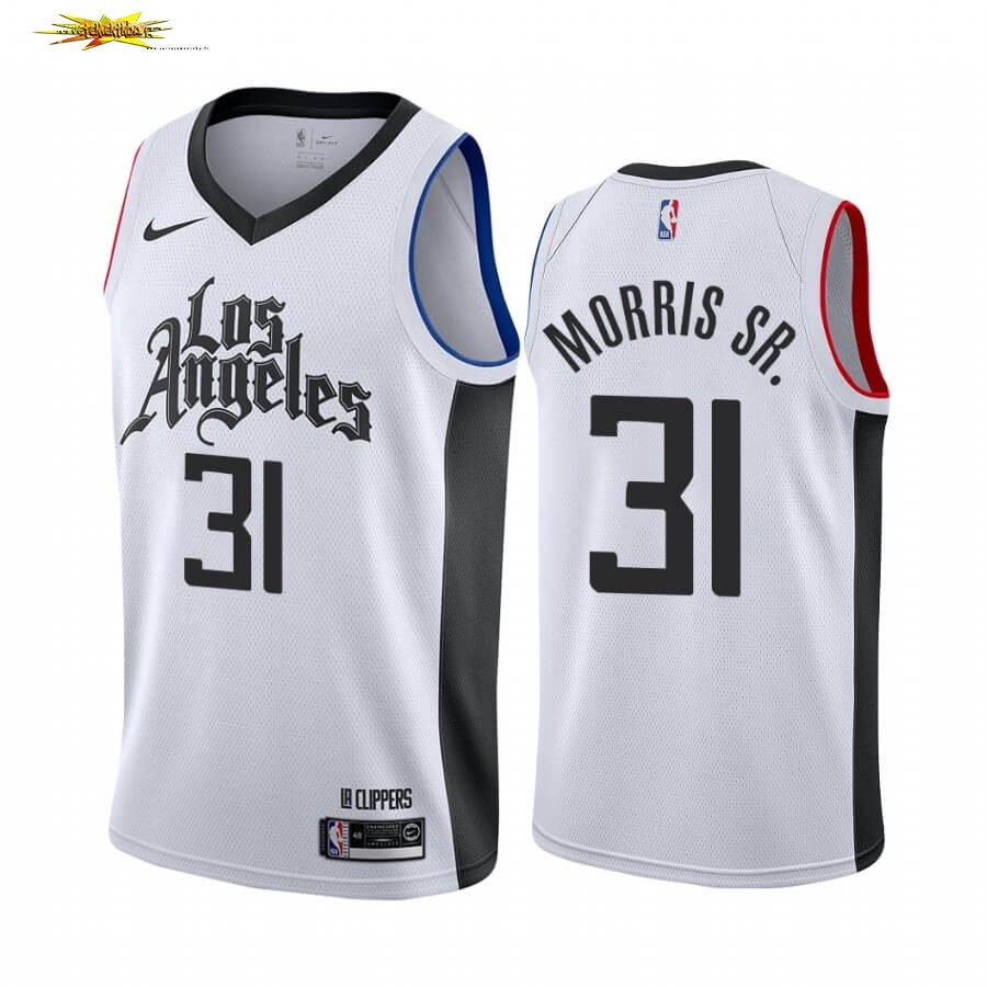 Maillot NBA Nike Los Angeles Clippers NO.31 Marcus Morris Sr. Blanc Ville 19 20