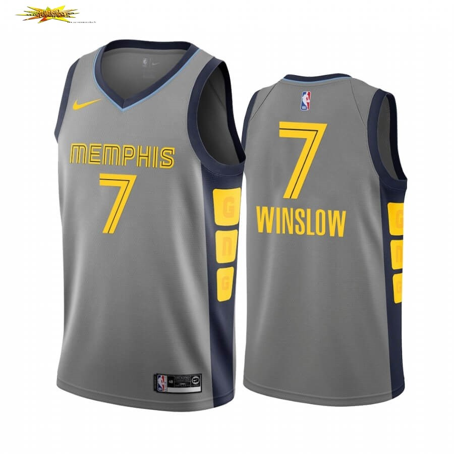 Maillot NBA Nike Menphis Grizzlies NO.7 Justise Winslow Nike Gris Ville 2019-20