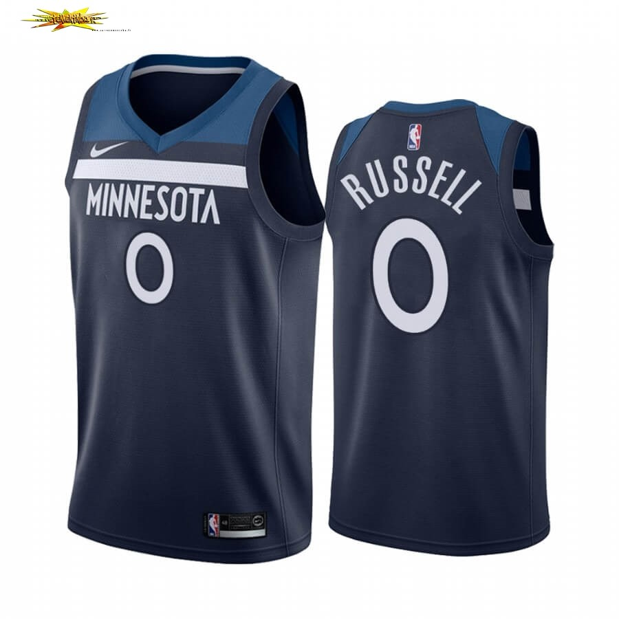 Maillot NBA Nike Minnesota Timberwolves NO.0 D'angelo Russell Marine Icon 2019-20