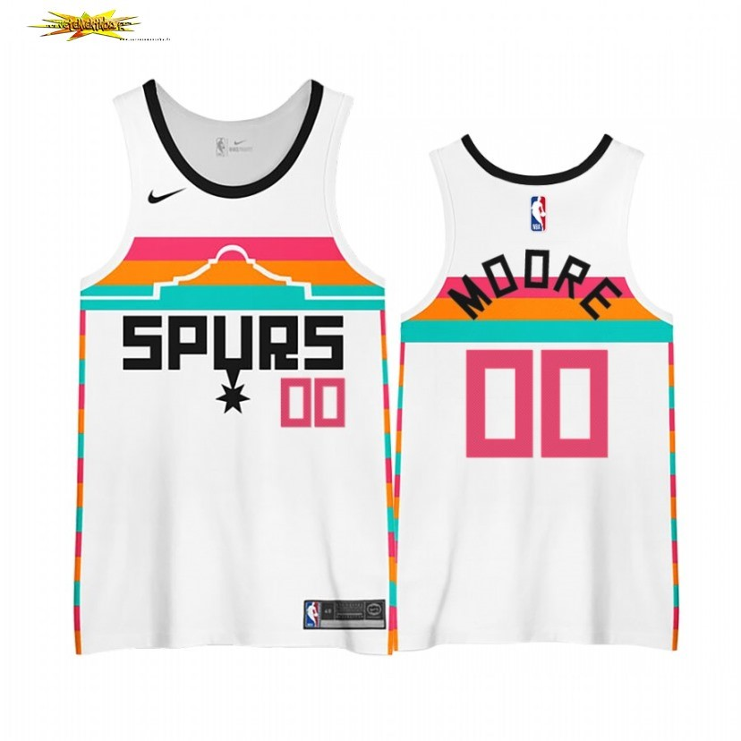Nouveau Maillot NBA Earned Edition San Antonio Spurs NO.00# Johnny Moore Blanc 2020-21