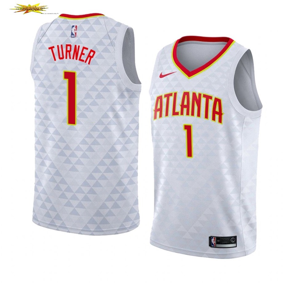 Nouveau Maillot NBA Nike Atlanta Hawks NO.1# Evan Turner Blanc Association 2019-20