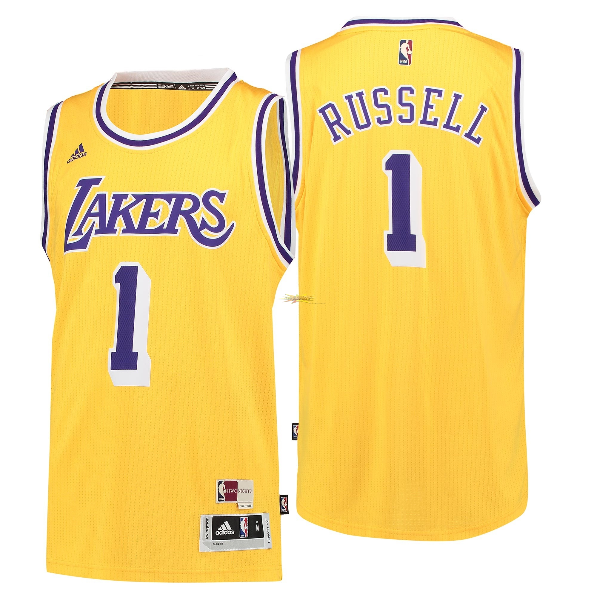 Nouveau Maillot NBA Los Angeles Lakers NO.1 D'Angelo Russell Retro Bleu