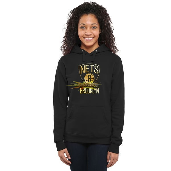 Nouveau Hoodies NBA Femme Brooklyn Nets Noir Or