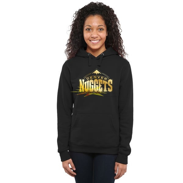 Nouveau Hoodies NBA Femme Denver Nuggets Noir Or