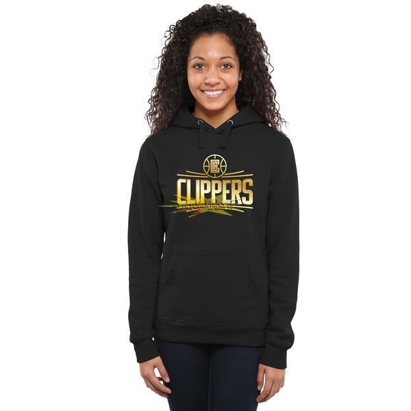 Nouveau Hoodies NBA Femme Los Angeles Clippers Noir Or