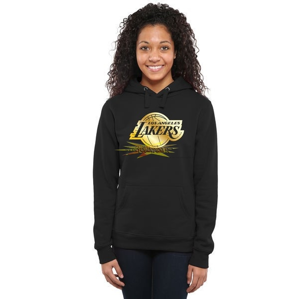 Nouveau Hoodies NBA Femme Los Angeles Lakers Noir Or