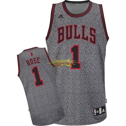 Nouveau Maillot NBA 2013 Static Fashion Chicago Bulls NO.1 Rose