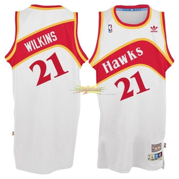 Nouveau Maillot NBA Atlanta Hawks No.21 Dominique Wilkins Blanc