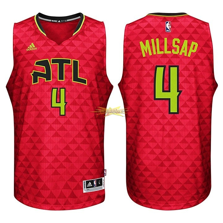 Nouveau Maillot NBA Atlanta Hawks No.4 Paul Millsap Rouge