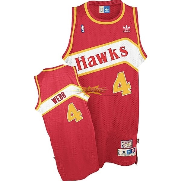 Nouveau Maillot NBA Atlanta Hawks No.4 Webb Rouge