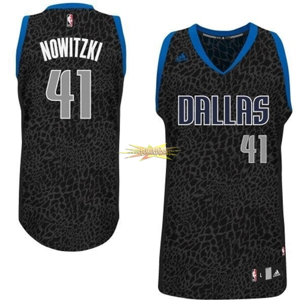 Nouveau Maillot NBA Dallas Mavericks Luz Léopard NO.41 Nowitzki Noir