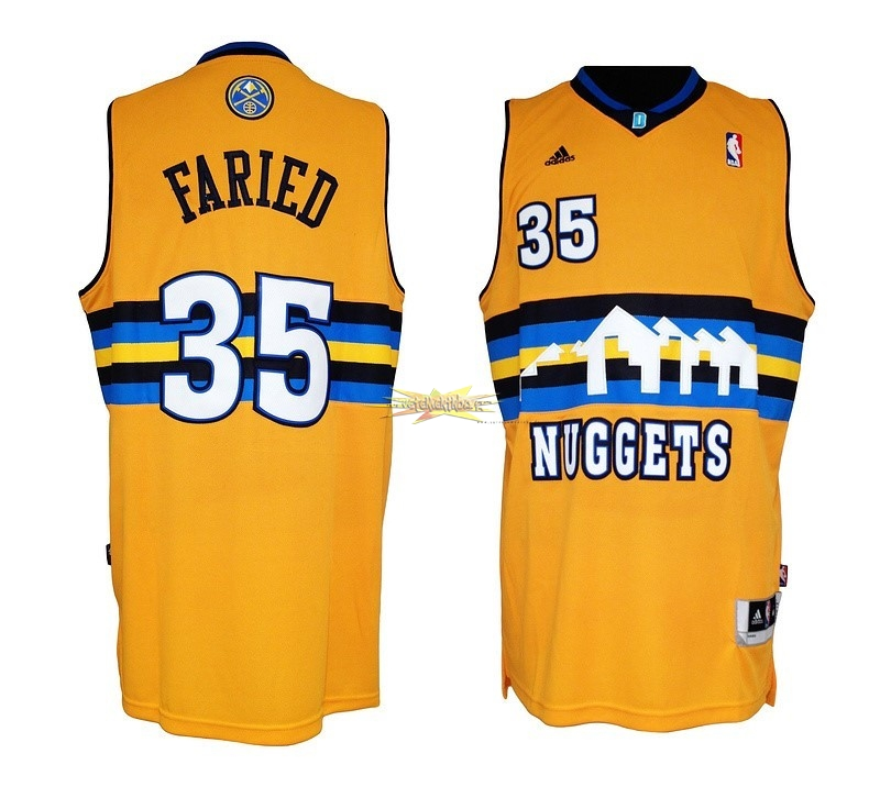 Nouveau Maillot NBA Denver Nuggets NO.35 Kenneth Faried Jaune