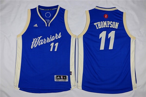 Nouveau Maillot NBA Enfant 2015 Noël Golden State Warriors NO.11 Klay Thompson Bleu