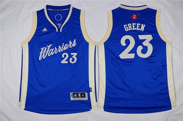 Nouveau Maillot NBA Enfant 2015 Noël Golden State Warriors NO.23 Draymond Green Bleu
