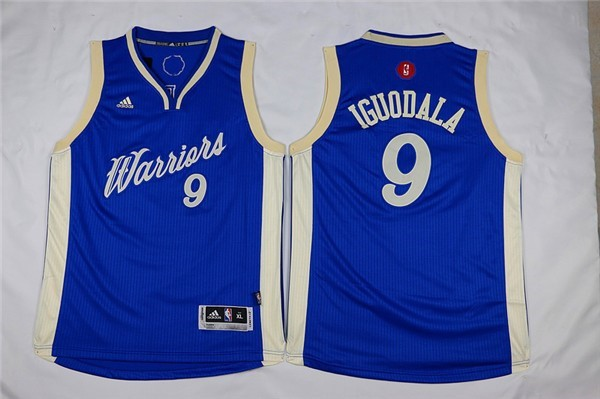 Nouveau Maillot NBA Enfant 2015 Noël Golden State Warriors NO.9 Andre Iguodala Bleu