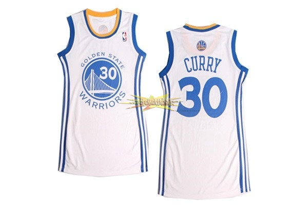 Nouveau Maillot NBA Femme Golden State Warriors NO.30 Stephen Curry Blanc