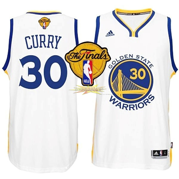 Nouveau Maillot NBA Golden State Warriors Finales NO.30 Curry Blanc