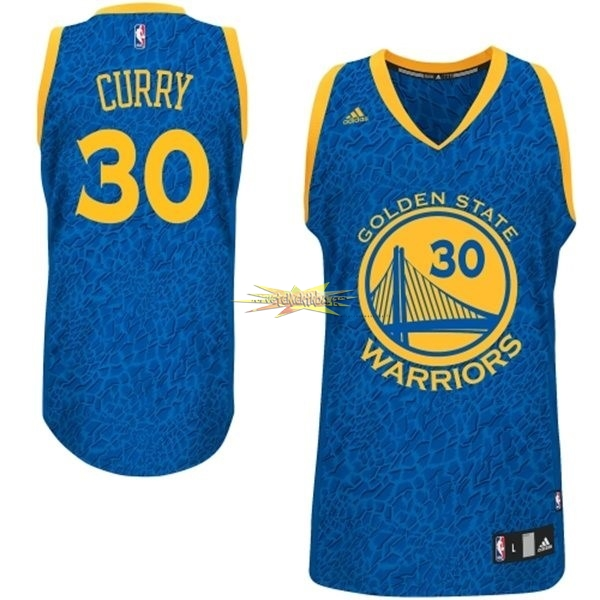Nouveau Maillot NBA Golden State Warriors Luz Léopard NO.30 Curry Bleu
