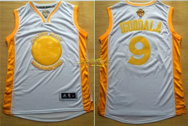 Nouveau Maillot NBA Golden State Warriors NO.9 Andre Iguodala Or