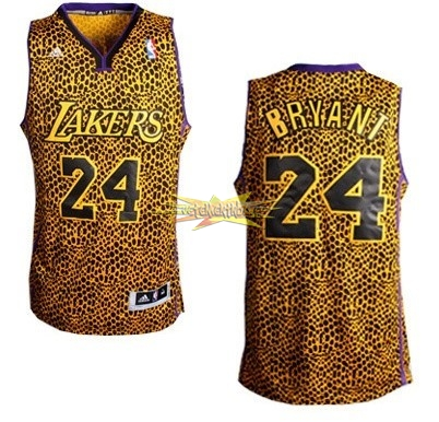 Nouveau Maillot NBA Los Angeles Lakers Luz Léopard NO.24 Bryant Dorado