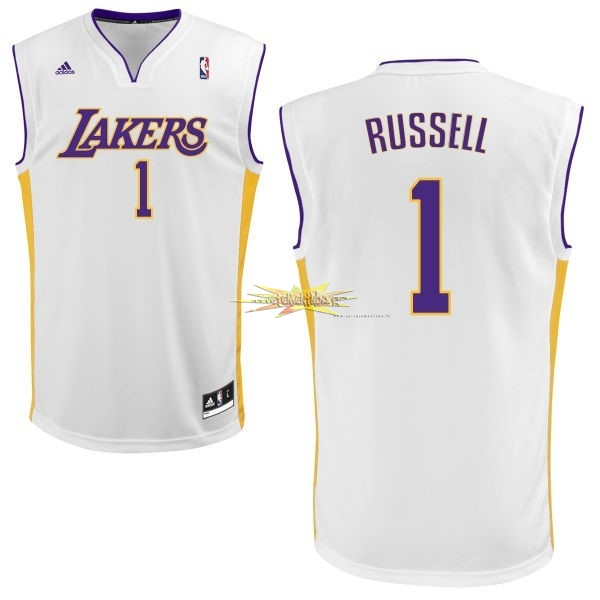 Nouveau Maillot NBA Los Angeles Lakers NO.1 D'Angelo Russell Blanc