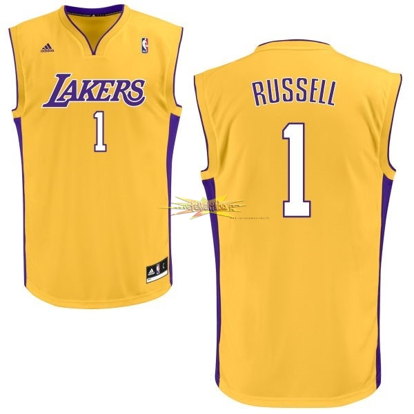 Nouveau Maillot NBA Los Angeles Lakers NO.1 D'Angelo Russell Jaune