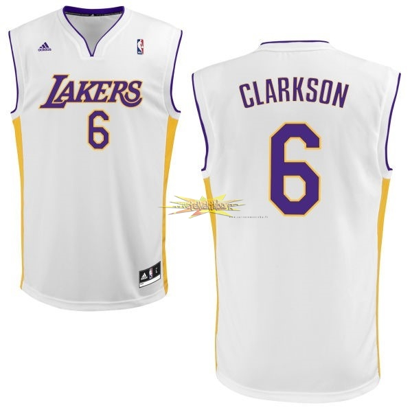 Nouveau Maillot NBA Los Angeles Lakers NO.6 Jordan Clarkson Blanc