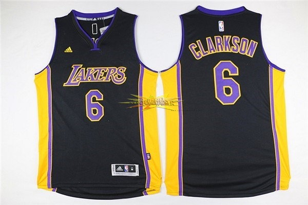 Nouveau Maillot NBA Los Angeles Lakers NO.6 Jordan Clarkson Noir
