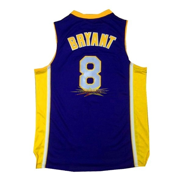Nouveau Maillot NBA Los Angeles Lakers NO.8 Kobe Bryant Pourpre Jaune