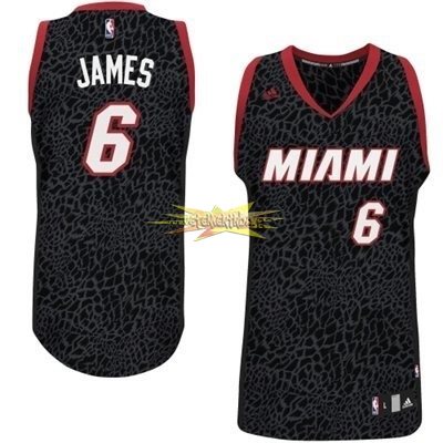 Nouveau Maillot NBA Miami Heat Luz Léopard NO.6 James Noir