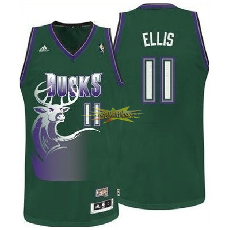 Nouveau Maillot NBA Milwaukee Bucks NO.11 Monta Ellis Vert
