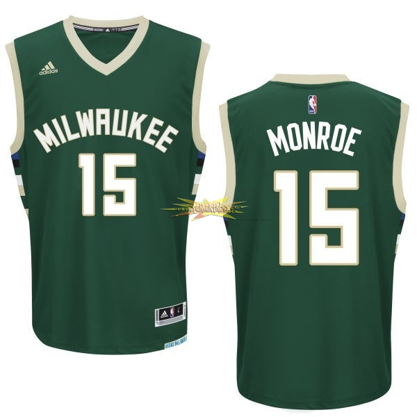 Nouveau Maillot NBA Milwaukee Bucks NO.15 Greg Monroe Vert