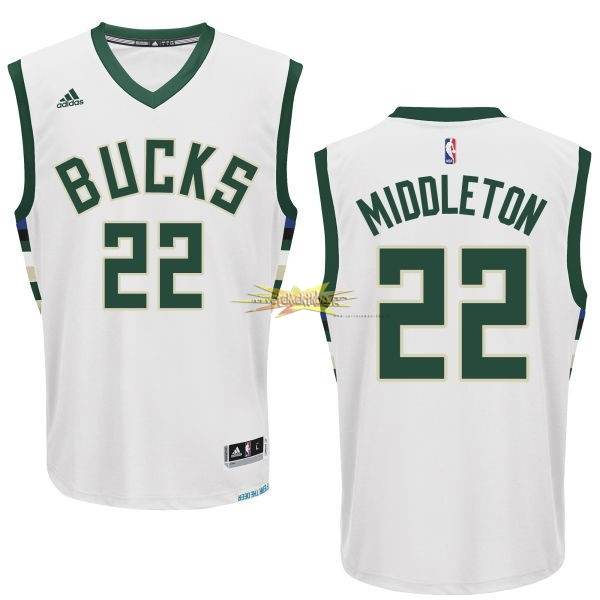 Nouveau Maillot NBA Milwaukee Bucks NO.22 Khris Middleton Blanc